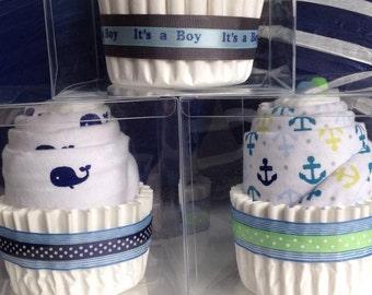 Blue Cloth Diaper Cupcake