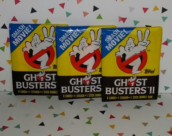 Vintage Lot of 3 1989 Ghostbusters 2 Wax Packs (Cards and Stickers)
