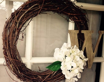 Shabby Chic Monogram Wreath