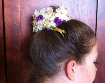 Bridesmaid hair accessory, Cream and Purple flowers great for woodland wedding style