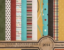 """Digital Scrapbook Papers - """"Outdoor Adventures"""" digital paper pack for campers, hikers and scouts in earthy colors for scrapbook layouts"""