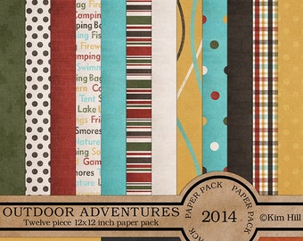 "Digital Scrapbook Papers - ""Outdoor Adventures"" digital paper pack for campers, hikers and scouts in earthy colors for scrapbook layouts"
