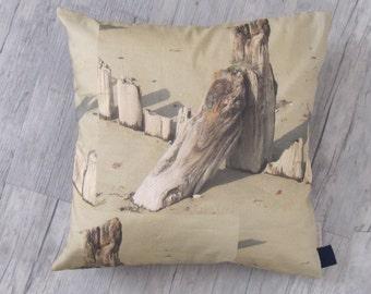 """Beach Cushion 40x40cm (16""""x16""""), Throw pillow, Beachwood design, digital photo, sea, home decoration, house warming, summer house, gift"""