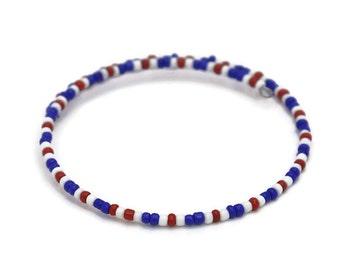 Patriotic Bracelets for Women - Independence Day USA - American Patriotic Gifts - Boho Summer Bracelet - Stackable Bracelets - July 4th
