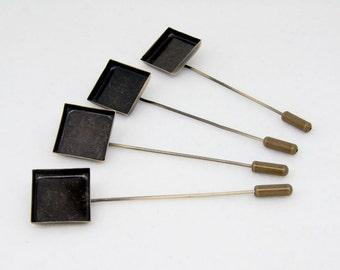 6x Antique Bronze 16mm Square Stick Pin Setting Blanks