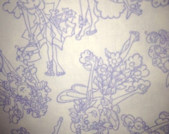 Quilting Treasures Very Fairy 100% cotton fabric, white background with fairies outlined in purple. ~17