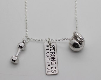 KETTLEBELL NECKLACE - Exercise Charm Gym Pendant Weightlifting Crossfit Jewelry
