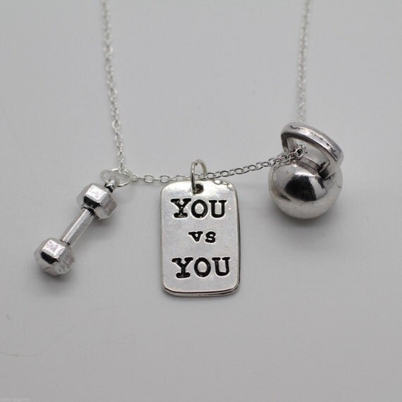 YOU VS YOU Fitness Necklace Kettlebell Gym Dumbbell Charm