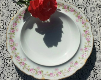 Elite Works Limoges butter dish/plate, pink floral pattern with gold trim.
