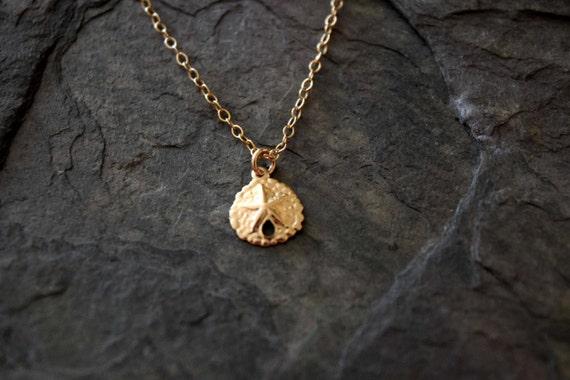 Dainty Sand Dollar Necklace 14k Gold Fill Gold Sand