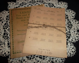 Vintage Test and Practice Sheets in Arithmetic, 1930, Set of 5 sheets