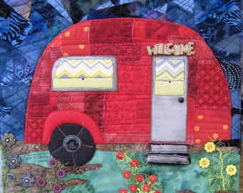 Made to Order, Quilted Wall Hanging, Vintage Camp Trailer, Art Quilt, Whimsical Quilt, Gift Idea, 11x11