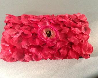 Wedding Handbag, Fuschia Clutch, Evening Purse, Formal Clutch Purse ,Hot Pink Petal Clutch Bag