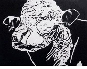 Herefordshire bull linocut