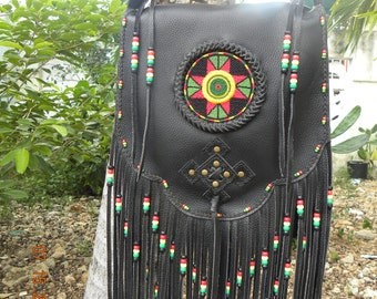 Native American/Rasta Style leather crossbody shoulder bag