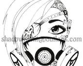 Biohazard Girl Digital Stamp Line art