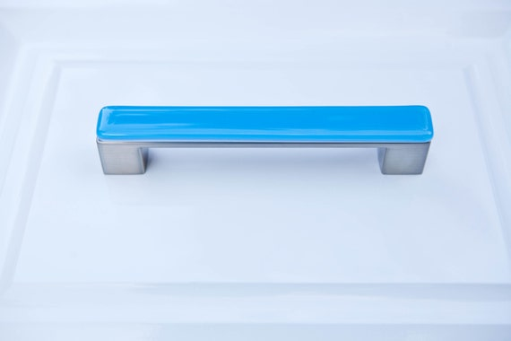 Glass drawer pulls turquoise furniture handle by for Turquoise cabinet pulls