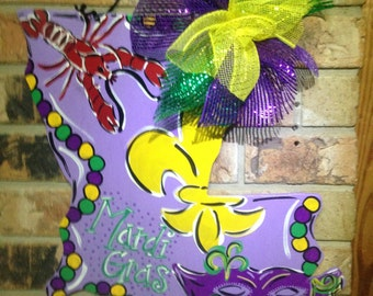 Louisiana Mardi Gras, Mardi Gras door hanger, spring door hanger, louisiana decor