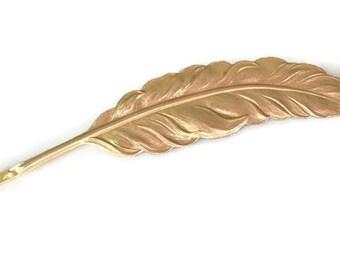 Gold Feather Bobby Pin Feather Hair Pin Bridal Hair Pin Gold Hair Accessory Woodland Bride Bridal Hair Clip Hair Summer Hair Barrette