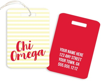 ChiO Chi Omega Striped Sorority Luggage Tag