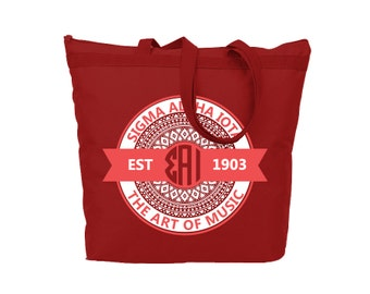 Aztec Print Tote // SAI // Sigma Alpha Iota // Sorority Gift // Sorority Tote // Choose Your Colors!