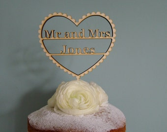 Mr and Mrs, Personalised Wedding Cake topper, Heart shaped wedding cake topper