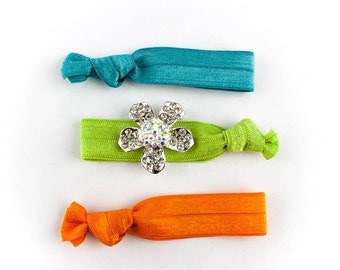 Summer Flower Hair Tie Set - 3 Rhinestone and Elastic Hair Ties that Double as Bracelets