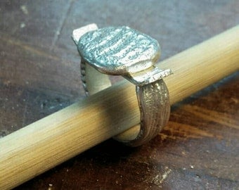 One of a Kind Sterling Silver Cuttlefish Cast Ring - size 5.5