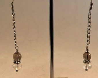 Smoky Quartz and Clear Quartz Chain Earrings
