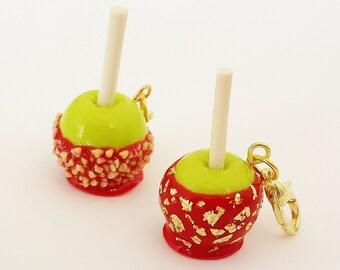 Miniature Candy Apple Charm -  Miniature Food jewelry - Polymer clay food Charm - Valentine Food Jewelry - Apple Jewelry