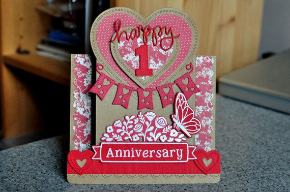 Items Similar To Handmade 3D 'Happy Anniversary' Card