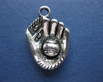 10 Baseball Mitt Charms - Baseball Glove Charm - Baseball Charm - Baseball Pendant - Silver Tone - 21mm x 15mm  -- (No.71-10003)