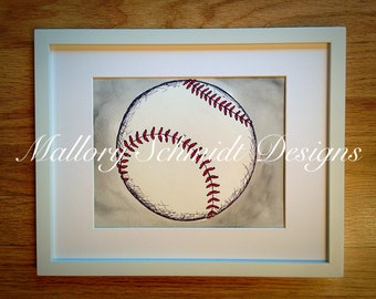 Original Nursery Artwork Kids Sports Decor Baseball Room Art Baby Boy Shower Children