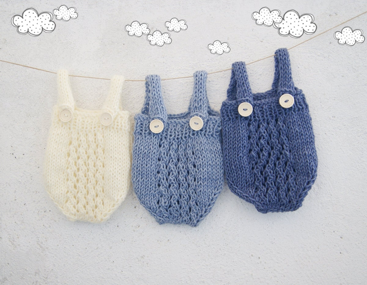 Knitting Patterns For Baby Overalls : Newborn Boy Photo Prop / Knit baby overall / Baby Knitted