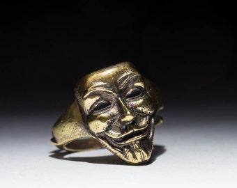 Anonymous Ring, Guy Fawkes, V for Vendetta, brass, adjustable size, handmade