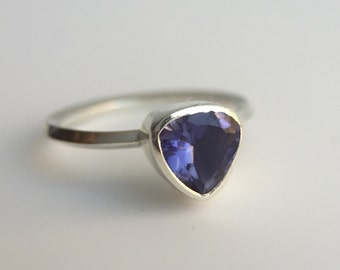 One of a Kind Sterling Silver Pear Shaped Iolite Knife Edge Solitaire Ring