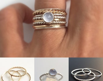 Chalcedony Gold and Silver Stacking Ring Set