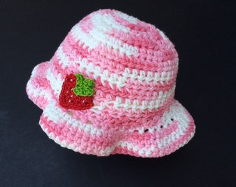 Baby Girl Sunhat, Girl's Crochet Sunhat with Strawberry, Girl's Hat, Girl's Pink Sunhat, Baby Girl's Hat with Strawberry