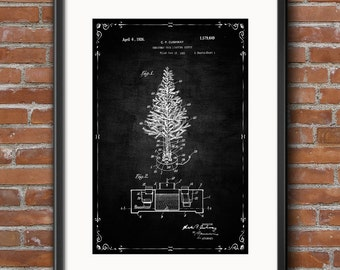 Christmas Tree Poster, Christmas Tree Patent, Christmas Print, Christmas Art, Holiday Decor, Christmas Blueprint Wall Art Decor - 0410