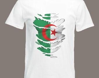 Algerian Flag T-Shirt  see Muscles through Ripped T-Shirt Algeria in all sizes