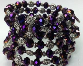 Purple Crystal wrap bracelet, Beaded Wrap Bracelet, Purple Memory Wire Bracelet, Crystal Bracelets, Purple Silver Bracelet, women's bracelet