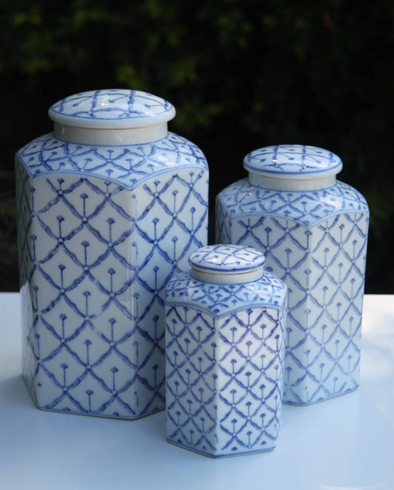 blue and white hexagonal canister set set of vintage blue and white enamel kitchen canisters