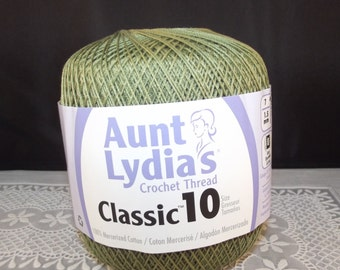 Crochet Cotton Thread, Aunt Lydia Classic Size 10 Olive, Green Crochet Thread, Olive Crochet Thread, Olive Thread