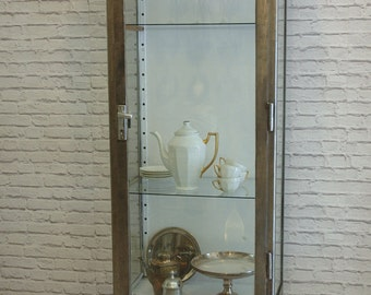Vintage polished steel&glass medical cabinet