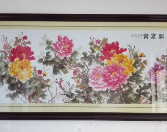 Cross stitch Embroidery Peonies