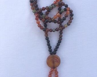 Long Semi Precious stone agate necklace