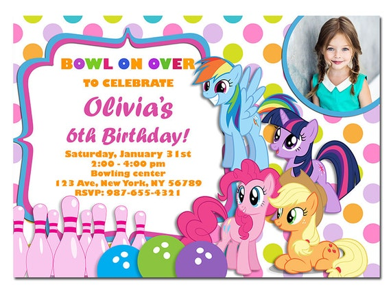 my little pony bowling party invitation my little pony, Party invitations