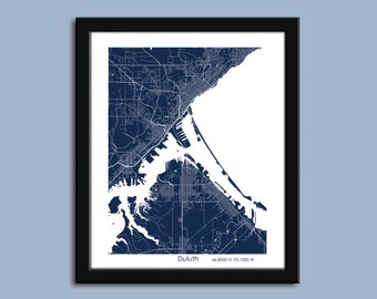 Duluth map, Duluth city map art, Duluth wall art poster, Duluth decorative map