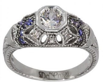 1/2 Round Diamond In Art Deco Engagement Ring With Diamonds & Sapphires 0.30ctw