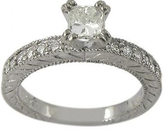 Princess Cut Engagement Ring In 14k White Gold With Diamond Accents & Milgrain